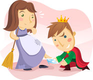 Cinderella and the prince. Cinderella with the prince and the crystal shoe Royalty Free Stock Images
