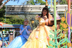 Cinderella and Princess Belle at Disneyland. Anaheim, California, USA - May 30, 2014: Cinderella and Princess Belle in Disney Parade at Disneyland Stock Photo