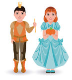 Cinderella princess with pumpkin and little prince with pumpkin Royalty Free Stock Photography