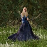 Cinderella Princess Standing in the Forest Stock Images