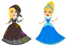 Cinderella. Princess Cinderella before after vector cartoon  isolated Stock Photos