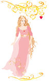 Cinderella in rose dress vector illustration