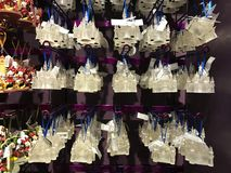 Cinderella`s Castle Christmas Ornaments For Sale. Lots of Disney Christmas Ornaments for sale at the Disney Christmas shop in Disney Springs, Orlando, Florida stock images