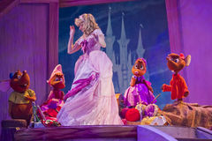 Cinderella's dress and the mice. GREEN BAY, WI - FEBRUARY 10: Cinderella's new dress from the mice at the Disney Princesses show at the Resch Center on February Stock Image