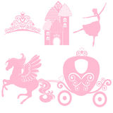 Cinderella set of collections. Crown, Vector illustration. design elements for little Princess, glamour girl.   Stock Photos