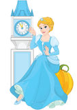 Cinderella sitting on pumpkin Stock Photo