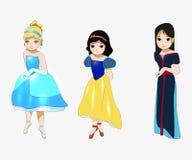 Cinderella Snövit, Mulan, sagahjälteanime vektor illustrationer