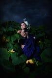 Cinderella in stapel van pompoenen Stock Foto