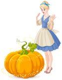 Cinderella Surprised by a Magical Pumpkin. Cinderella Surprised by Pumpkin turning into a carriage Stock Photos