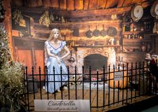 Cinderella theme. Whitchurch, Bristol, UK - November 19, 2016: Christmas decorations on sale, Cinderella theme in Whitehall garden centre, near Lacock in stock images