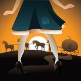 Cinderella vê sua abóbora treinar ilustração do vetor