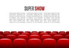 Cine con la fila de asientos rojos Plantilla del evento de la premier Diseño estupendo de la demostración Concepto de la presenta Fotos de archivo