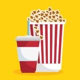Cine de la comida de la paja de la soda de la palomitas de maíz Fotografía de archivo libre de regalías
