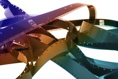 Cine Film. Movie film on the cutting room floor Stock Photography