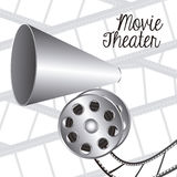Cine icon. Illustration of icon of cinema, film reel and principal speaker, vector illustration Royalty Free Stock Photo