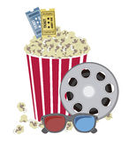 Cine icons. Illustration of film icon, movie popcorn with film reel and 3D Glases, vector illustration Royalty Free Stock Photo