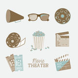 Cine icons. Illustration of icon of cinema, 3D cinema glasses,  director slate, popcorn, tickets, and Film reel, vector illustration Royalty Free Stock Images