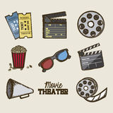Cine icons. Illustration of icon of cinema, 3D cinema glasses,  director slate, popcorn, tickets, and Film reel, vector illustration Stock Images