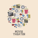 Cine icons. Illustration of icon of cinema, 3D cinema glasses,  director slate, popcorn, tickets, and Film reel, vector illustration Royalty Free Stock Photo
