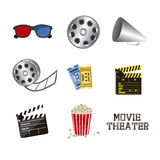 Cine icons. Illustration of icon of cinema, 3D cinema glasses,  director slate, popcorn, tickets, and Film reel, vector illustration Stock Photography