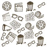 Cine icons. Illustration of icon of cinema, 3D cinema glasses,  director slate, popcorn, tickets, and Film reel, vector illustration Stock Photo