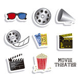 Cine icons. Illustration of icon of cinema, 3D cinema glasses,  director slate, popcorn, tickets, and Film reel, vector illustration Stock Photos