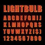 Cine o teatro anaranjado de la demostración de la fuente de las letras de la lámpara de neón del vector ilustración del vector