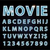 Cine o teatro azul de la demostración de la fuente de las letras de la lámpara de neón del vector stock de ilustración