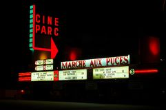 Cine park outside cinema in Canada during night time royalty free stock photography