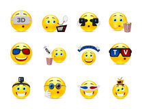 Cine smilies. Set of funny beautiful smiles on the topic of cinema Stock Photo