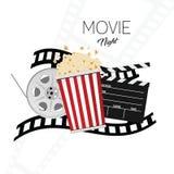 Cine y fondo dos del ejemplo de la noche de película Imagenes de archivo