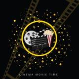 Cine y fondo dos del negro del tiempo de película Foto de archivo
