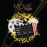 Cine y fondo uno del negro de la noche de película Imagen de archivo