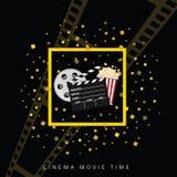 Cine y fondo uno del negro del tiempo de película Fotos de archivo