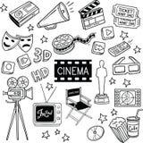 Cine y garabatos del vector de la película libre illustration