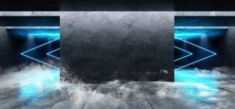 Cinemático azul blanco del espacio del Grunge de las luces de neón del laser de la flecha de la niebla del humo del garaje de la  stock de ilustración