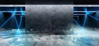 Cinemático azul blanco del laser de la niebla del humo de las luces de neón del Grunge del espacio del garaje de la galería subte stock de ilustración