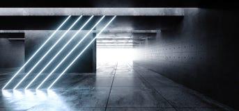 Cinemático azul blanco inclinada vertical del espacio del Grunge de las luces de neón del laser del garaje de la galería subterrá ilustración del vector