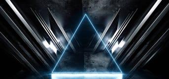 Cinemático vacío oscuro azul de neón de la nave espacial de Sci Fi del triángulo que brilla intensamente del extracto del triángu stock de ilustración