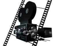 Cinema. Old fashion Movie camera over blank frames Stock Photos