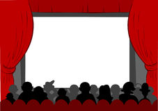 Cinema. People watching movie at cinema hall, Vector illustration Stock Photo