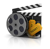 Cinema. 3d illustration of cinema clap, film reel and tickets, over white background Stock Photography