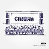 Cinema. Hand drawn illustration of cinema isolated on white background Royalty Free Stock Image