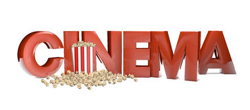 Cinema. Render of the text cinema and pop corn Stock Image