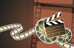 Cinema abstract background. Vector illustration of abstract background with film, clapperboard and a film reel Royalty Free Stock Photo