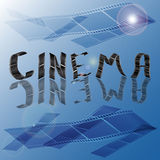 Cinema 1. Abstract blue background with the word consisting of a film Royalty Free Stock Image