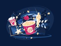 Cinema accessories popcorn and 3d glasses. Film industry. Cinema accessories popcorn, award and 3d glasses. Vector illustration Stock Photography