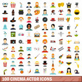 100 cinema actor icons set, flat style. 100 cinema actor icons set in flat style for any design vector illustration Stock Photos