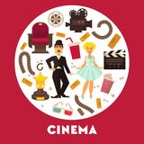 Cinema advertisement banner with famous actor and actress. Surrounded by symbolic cinematographic equipment, gold award and snack for seans inside circle Stock Image