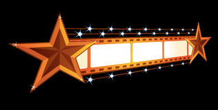 Cinema announcement. Gold stars at film isolated on black Stock Photos